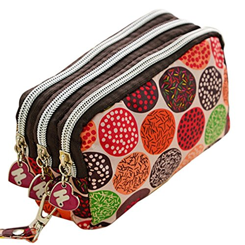 WeiMay Women Extra Large Capacity Wallet Purse Triple Zipper Clutch Phone Bag Stationary Pencil Holder Pen Brushes Makeup Cosmetic Bags Pencil Case Pouch Bag Holder (D)