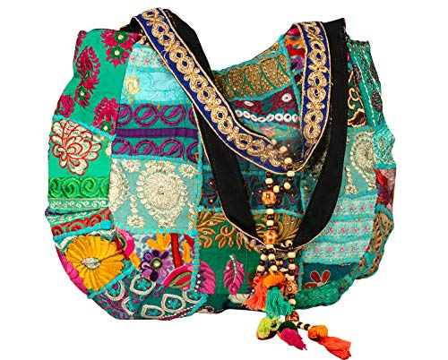 - TribeAzure Large Oversize Blue Canvas Shoulder Bag Handbag Unique Tote Quilt Vintage Beach Travel Summer