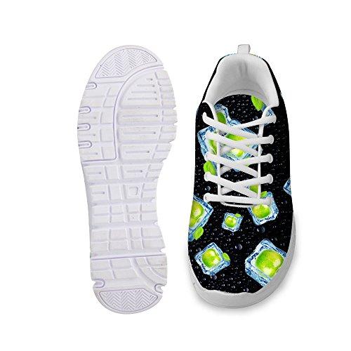 För U Designar Elegant Kvinna Mode Sneaker Spets-up Andas Rejäla Löparskor Svart 6