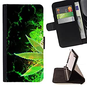 Weed Hemp Green Cannabis Plant Wallpaper - Painting Art Smile Face Style Design PU Leather Flip Stand Case Cover FOR Samsung Galaxy Note 4 IV @ The Smurfs
