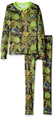 Cuddl Duds Big Boys' Teenage Mutant Ninja Turtles Climatesmart Essential Poly 2-Piece Set, Green, Large (Ninja Turtle Long Underwear)
