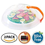 Eutuxia Microwave Cover. Perfect for Covering Plates, Bowls, Cups to Prevent Food & Liquid Splatters While Microwaving. Lid with Handle & Adjustable Steam Vent Holes. BPA Free, Dishwasher Safe. [2 PK]