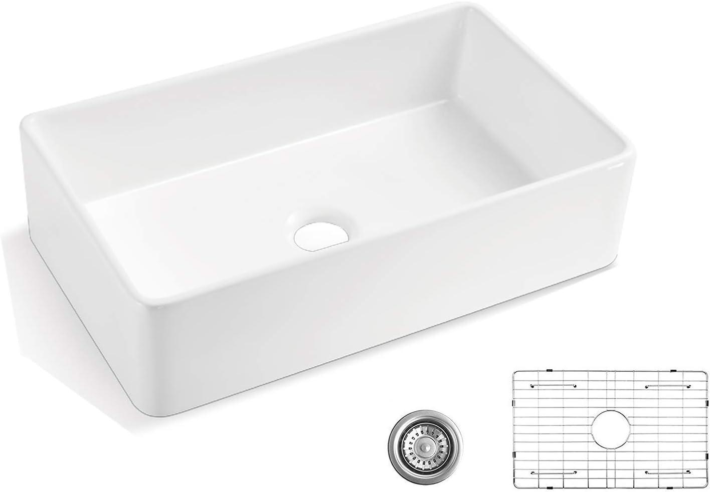 Alwen 33 White Farmhouse Sink Fireclay 33 Apron Front Sink Luxury Single Basin Kitchen Sink 33 Inch Farmhouse Sink White Ceramic Sink With Stainless Steel Grid And Strainer Amazon Com