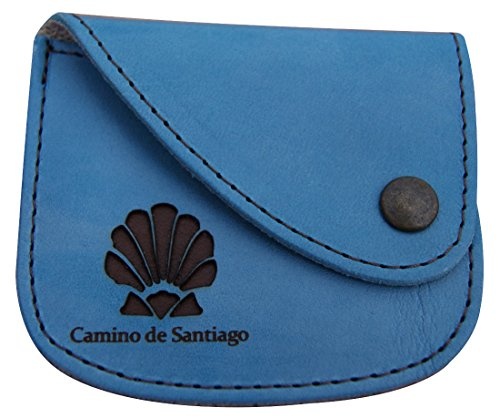 Leather Wallet Scallop light blue - dark brown - Santiago Leather