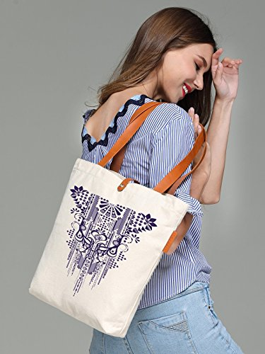 So'each Women's Aztec Geometry Graphic Top Handle Canvas Tote Shoulder Bag