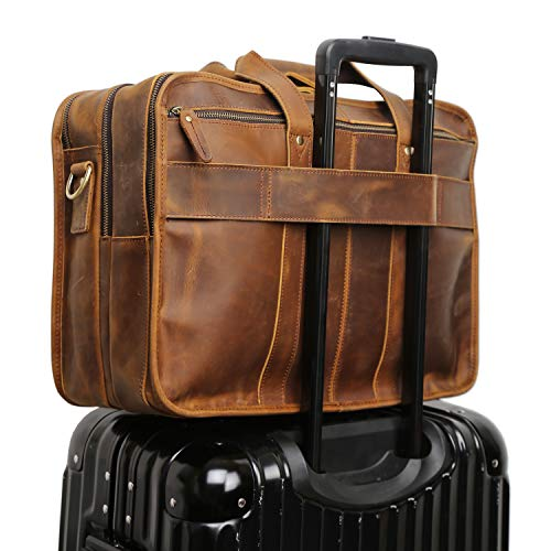 Polare Men's 17'' Full Grain Leather Messenger Bag for Laptop Briefcase Tote by Polare (Image #2)
