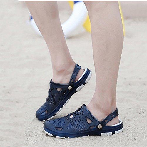 passeggio esterni per da da spiaggia Sandali antiscivolo giardino da tempo coperto doccia s Pantofole per traspiranti all'aperto al da chiusi e uomo in da Sandali pelle Blue adatti unisex Zoccoli il libero xwY8XqX0