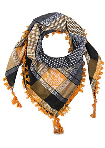 Merewill Premium Original Arabic Scarf 100% Cotton Shemagh Keffiyeh 49'x50' Arab Summer Scarf Special Golden