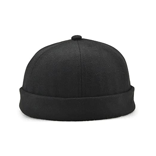 Image Unavailable. Image not available for. Color  Winmany Unisex Women Men skullcap  Sailor Cap Rolled Cuff Retro Brimless Beanie Hat 4fe3786473ca