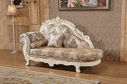 Meridian Furniture 691-CH Serena Solid Wood Upholstered Chaise Lounge with Traditional Hand Carved Designs, Rolled Arm, and Imported Fabrics, Pearl White Finish with Silver Accents