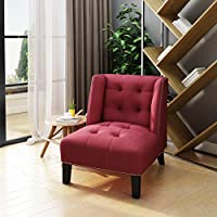 Teresa Tufted Wingback Red Fabric Accent Chair