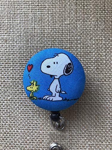 Peanuts Snoopy and Snoopy with Woodstock Retractable ID Badge Holder - Badge Reel Clip