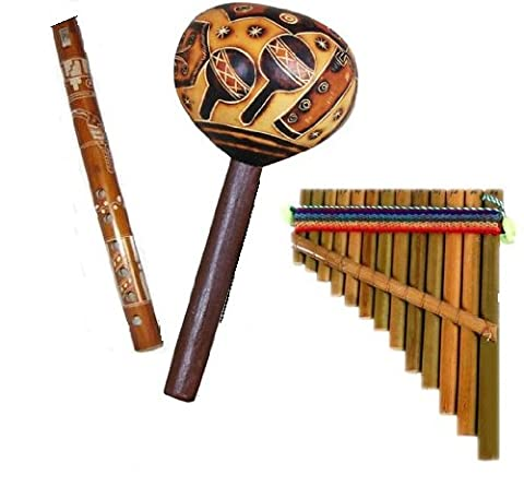 Andean Maraca Pan Flute Recorder Combo Set of Three Fair Trade Musical Instruments - Peruvian Carved Gourds