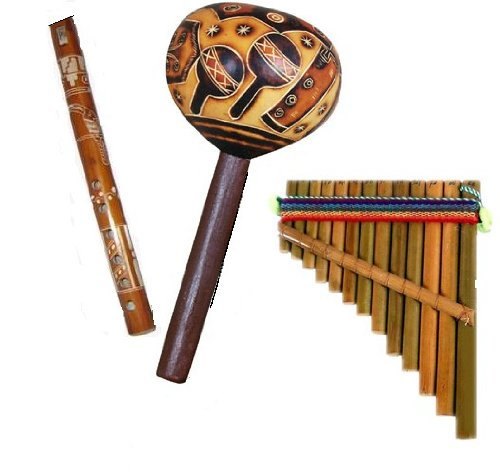 Andean Maraca Pan Flute Recorder Combo Set of Three Fair Trade Musical Instruments