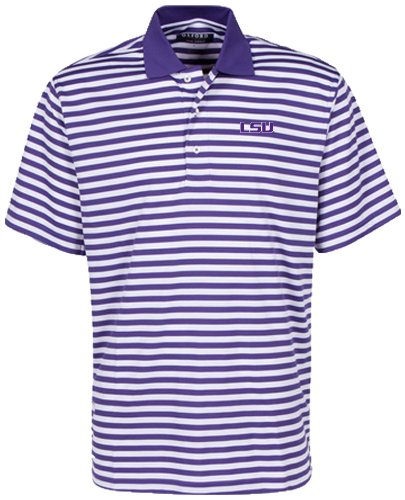 Oxford NCAA LSU Tigers Men's Bar Stripe Golf Polo, Grape/White, (Lsu Tailgate Golf)