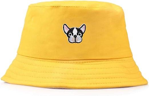 ZXF Lindo Perrito Bordado Pescador Sombrero Personalidad Plana Superior Sol Sombrero Inicio algodón Viaje sombrilla Playa Sombrero (Color : Yellow): Amazon.es: Hogar