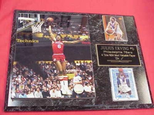 Julius Erving Philadelphia 76ers 2 Card Collector Plaque #1 Dr J w/8x10 Photo - Julius Baseball