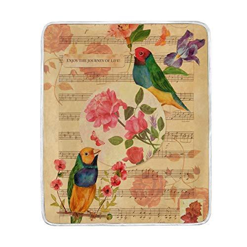 DOSHINE Couverture Couvre-lit Vintage Motif Papillon Oiseau Note de Musique Doux et léger 127 x 152 cm pour canapé lit Chaise Bureau