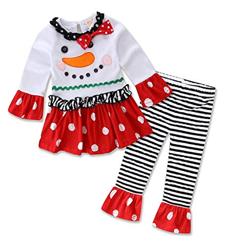 Jurebecia Little Girls Christmas Long Sleeve Outfits Toddler Holiday Party T-Shirt Tutu Dress Clothing Set Snowman Size 4T