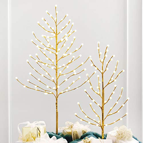 BrylaneHome 4' Lighted Gold Bead Tree