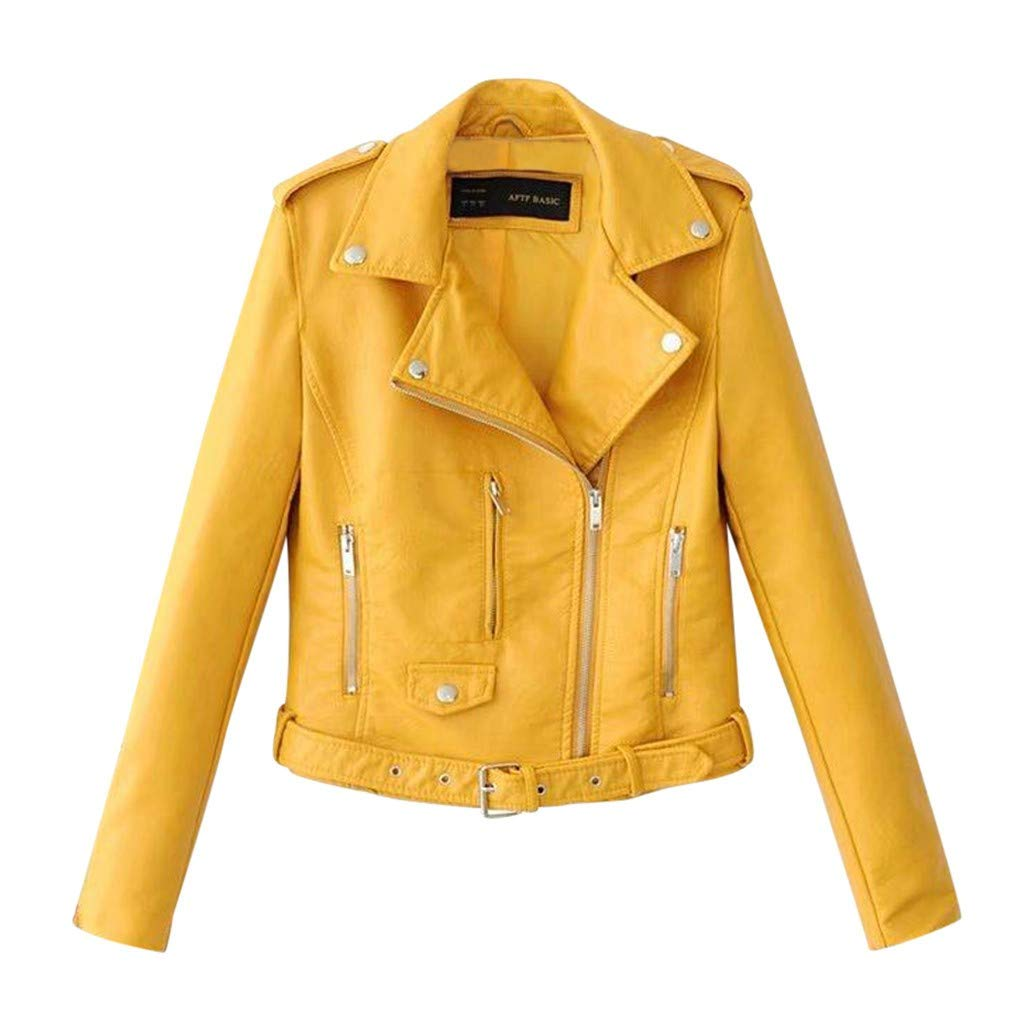 WUAI-Women Trendy Faux Leather Moto Biker Jacket Classic Side Zipper PU Coats Outwear Plus Size(Yellow,Large by WUAI-Women