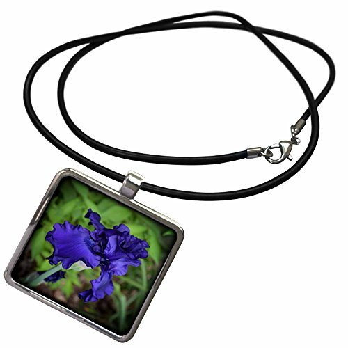 3dRose WhiteOaks Photography and Artwork - Iris Flowers - Royal Blue at its Best is a deep Blue iris Flower - Necklace with Rectangle Pendant (ncl_252499_1)