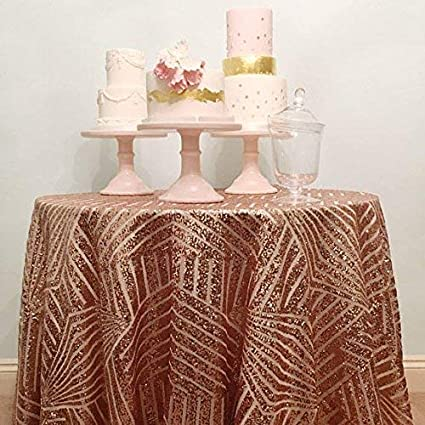 B COOL Geometric Rose Gold Sequin Tablecloth 120u0026quot; Round Shimmer Table  Overlay Wedding Table