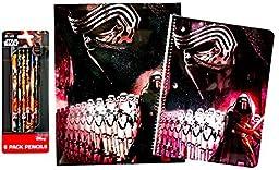 Star Wars 3 Piece Stationery School Supplies Set Featuring Kylo Ren: 1 Laminated Folder, 1 Spiral-Bound Notebook, 1 Set of 6 Pencils