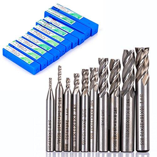 10pcs/set 2-10mm End Mill Set HSS 4 Blades Flute Milling Cutter Router Bit CNC Mill Drill Bit