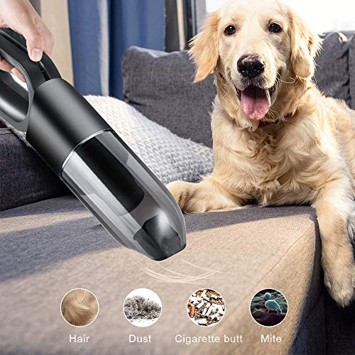 ear&ear Handstaubsauger 7000Pa Handsauger Kabellos Autostaubsauger mit Waschbarer HEPA Filter, USB Wiederaufladbarer,2 Modi (Aktualisierte Version)