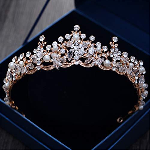 Rose Gold Crystal Pearl Bridal Crown Tiaras Baroque Vinatge Hair Ornaments Headband Wedding Accessories Rose Gold