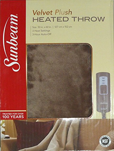 Sunbeam Velvet Soft Plush Heated Throw Blanket Various Colors Size: 50