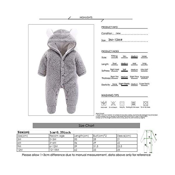 Haokaini - Tutina da Neve per Neonato, in Cotone e Pile, con Cappuccio, per Bambini e Bambine 6