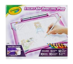 Kids can draw like a pro with the Crayola Light-Up Tracing Pad in pink, featuring over 35 art tools to inspire the imagination. Using the included fashion and animal tracing sheets, or the hundreds of downloadable online images, children ages...