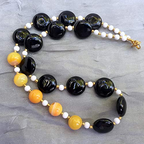 Asymmetrical black yellow onyx agate necklace,18