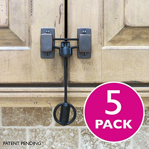 Kiscords Baby Safety Cabinet Locks for Knobs Child Safety Cabinet Latches for Home Safety Strap for Baby Proofing Cabinets Kitchen Door Rv No Drill No Screw No Adhesive / Color Black/ 5 Pack Ez-twist