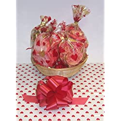 Scott's Cakes Small Valentines Day Cookie Lovers Basket with no Handle Heart Wrapping