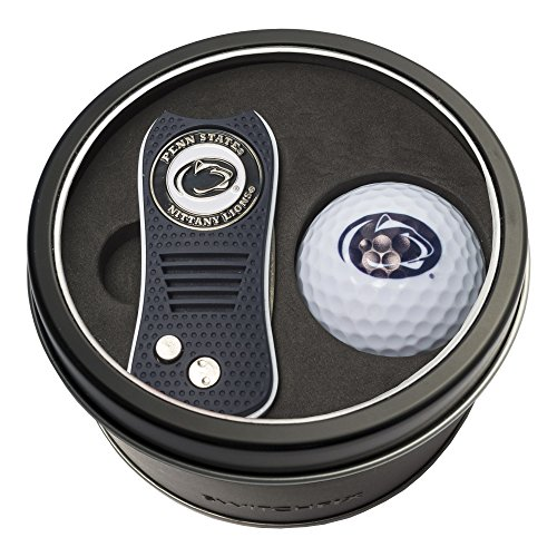 (Team Golf NCAA Penn State Nittany Lions Gift Set Switchblade Divot Tool with Double-Sided Magnetic Ball Marker & Golf Ball, Patented Single Prong Design, Less Damage to Greens, Switchblade Mechanism)