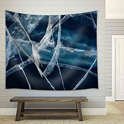 Fascinating Picture, Created By a Professional Artist, Network of Cracks in Thick Solid Layer of Ice of a Frozen Lake Due to Stress Caused by Temperature Changes Fabric Wall
