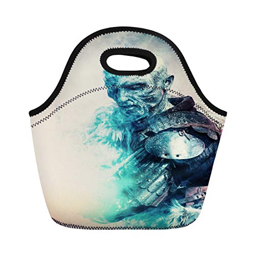 Semtomn Lunch Bags White Demon Halloween Frozen Snow Covered Zombie Warrior Neoprene Lunch Bag Lunchbox Tote Bag Portable Picnic Bag Cooler Bag]()
