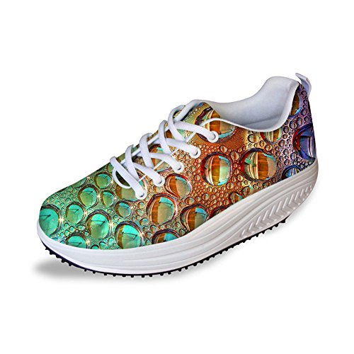 Multicolor Shape Sneakers Colorful Ups HUGSIDEA Walking 18 Womens Mesh g1dHq