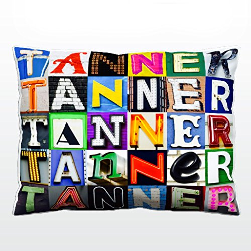 Personalized Pillow featuring the name TANNER in sign letter photos - Tanner Living Room