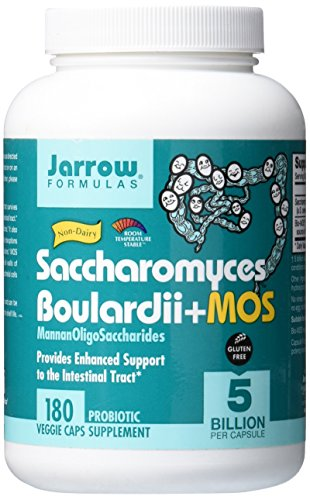 Jarrow Formulas Saccharomyces Boulardii + MOS, 5 Billion Cells Per Capsule, Promotes Intestinal and Digestive Health, Value Size, 180 Veggie Capsules