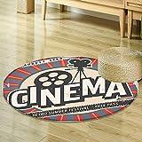 Mikihome Round Rug Kid Carpet Vintage Decor Retro Cinema Movie Vintage Paper Texture Hollywood Stars Decorative Design Beige Amber Grey Home Decor Foor Carpe R-47
