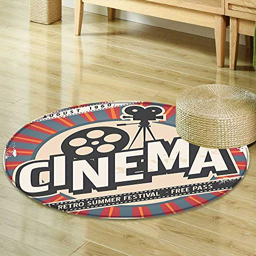 Mikihome Round Rug Kid Carpet Vintage Decor Retro Cinema Movie Vintage Paper Texture Hollywood Stars Decorative Design Beige Amber Grey Home Decor Foor Carpe R-47 by Mikihome