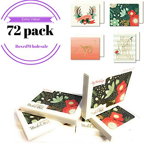 72 - Count: Christmas Cards & Envelopes | DIY Card Making | 6-Boxed Sets | My Mind's Eye - Christmas on Market Street - 4 Designs | Blank Inside