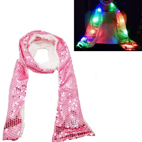 Luwint Colorful LED Flashing Scarf - Lights Up Rave Clothing Accessories Toys for Birthday Party Cosplay (Pink) ()