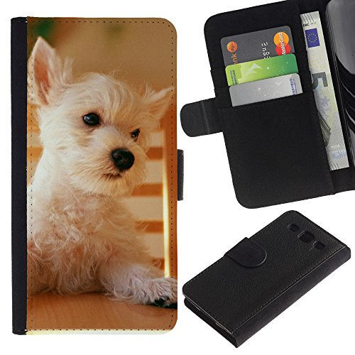 Billetera de Cuero Caso Titular de la tarjeta Carcasa Funda para Samsung Galaxy S3 III I9300 / Australian Terrier Cairn Norfolk West Dog / STRONG
