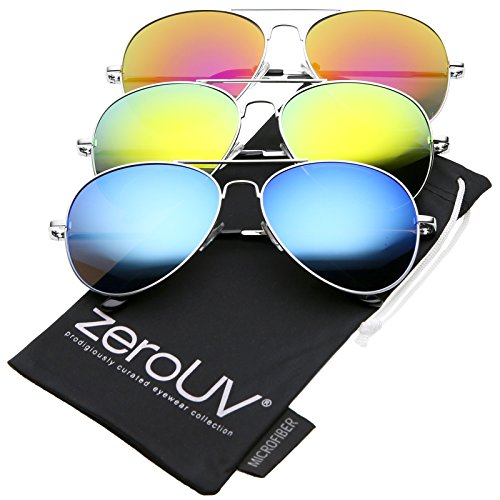 zeroUV - Premium Full Mirrored Aviator Sunglasses w/ Flash Mirror Lens (3-Pack Silver | Yellow + Orange + - Mirrored Aviators Yellow