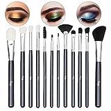 Qivange Makeup Brushes, Vegan Eyeshadow Brushes Eyebrow Eyeliner Small Fan Brush, Liquid Foundation
